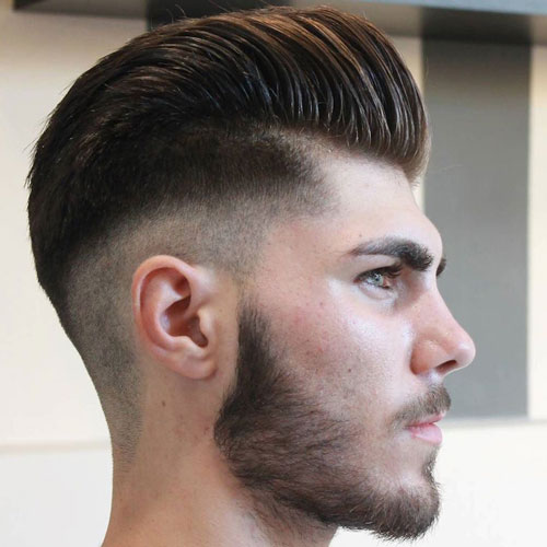 Pompadour + Low Skin Fade + Beard