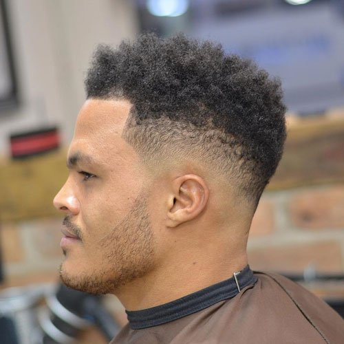 Short Curly Afro + Low Bald Drop Fade + Shape Up