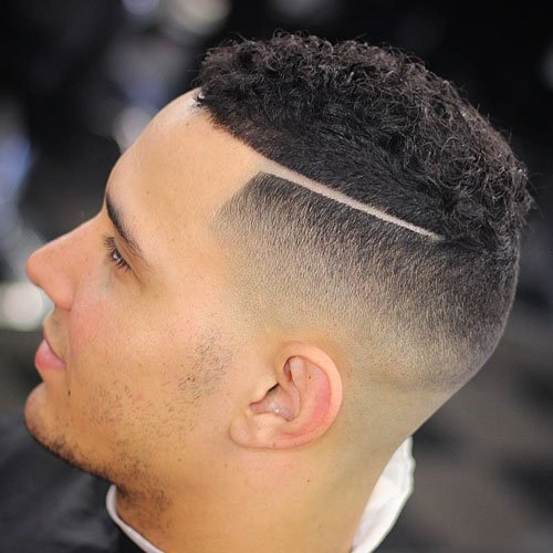 Short Curly Hair + Skin Fade + Line Up + Part