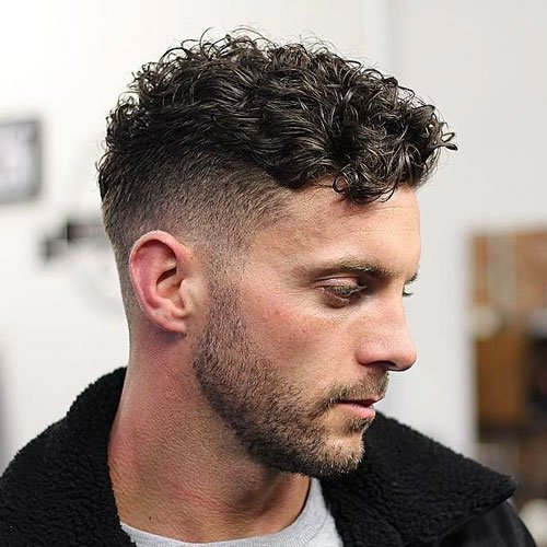 Short Curly Hair On Top + Low Fade