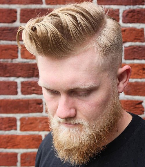 Side Part Comb Over + Taper + Bushy Beard