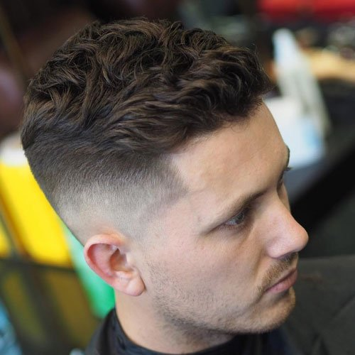Bald Fade + Wavy Side Swept Fringe