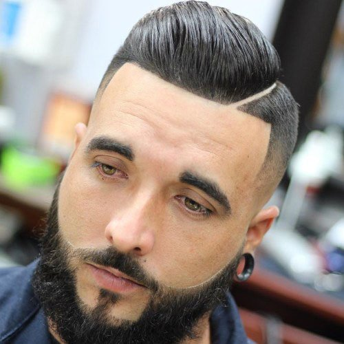 Comb Over + Hard Part + Line Up + Beard