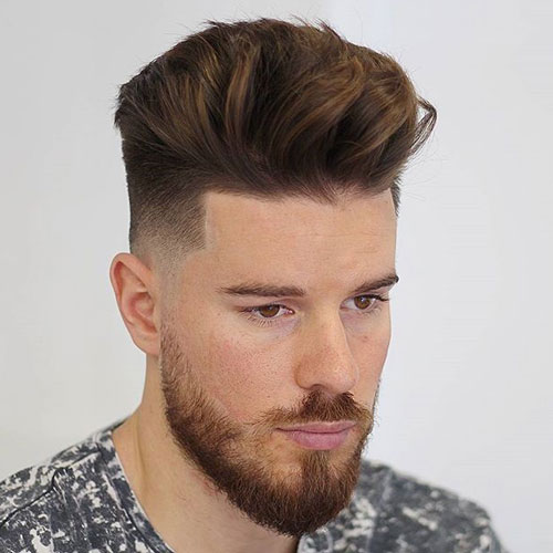Quiff + Low Bald Fade + Line Up + Beard