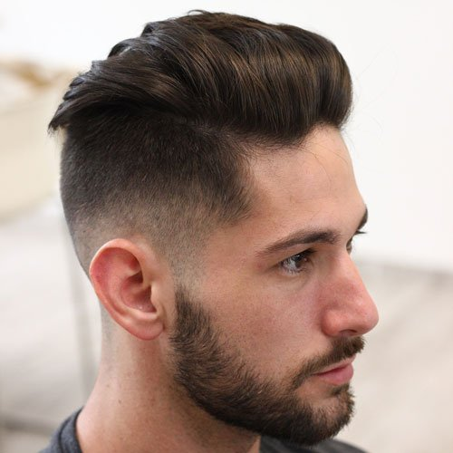 Textured Slick Back + Low Fade + Thick Beard