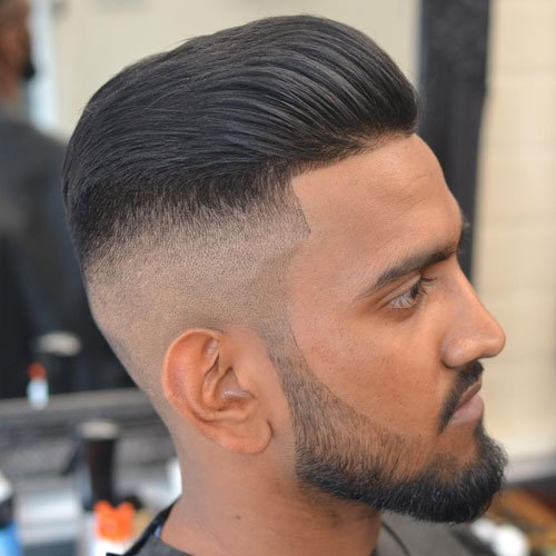 Textured Slick Back + Shaved Sides + Line Up + Beard