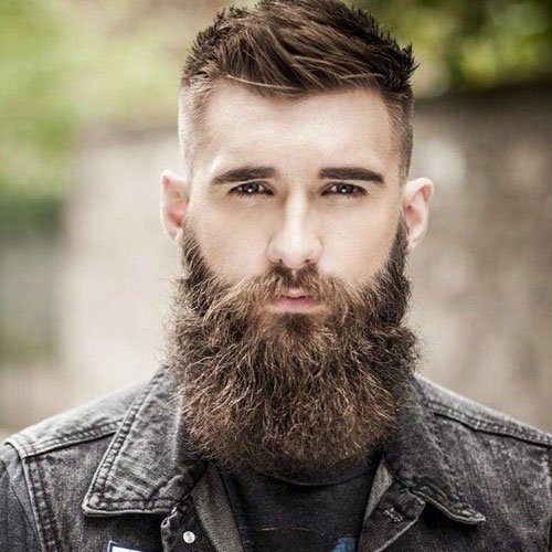 Full Beard + Fade + Short Textured Top