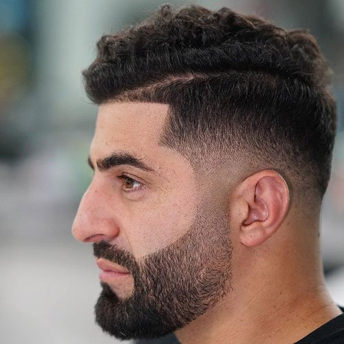 Heavy Stubble on Chin + Low Fade