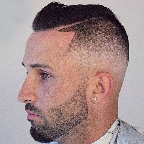 Skin Fade + Shape Up + Hard Side Part + Stubble Beard