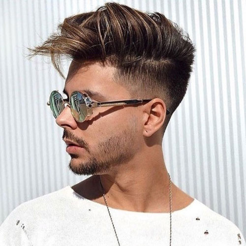 Low Fade + Messy Medium Length Hair