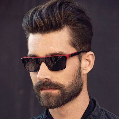 Textured Brush Back + Low Tapered Sides + Full Beard