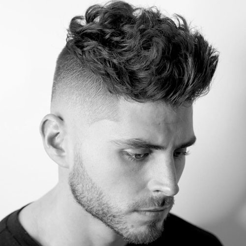 High Fade + Messy Wavy Hair on Top