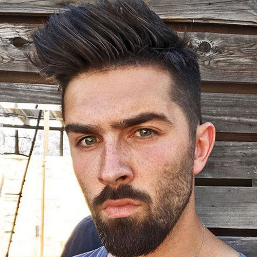 High Taper Fade with Spiky Hair and Beard