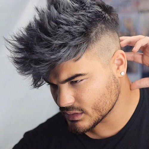 Light Grey Spiky Hair with Shaved Sides