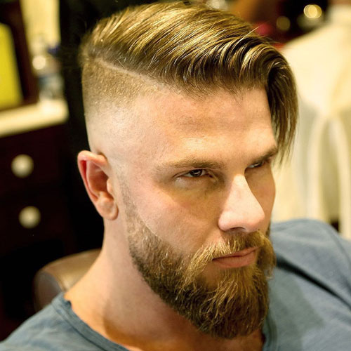 Long Comb Over + Undercut Fade + Beard