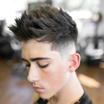 Low Skin Fade with Edge Up and Faux Hawk