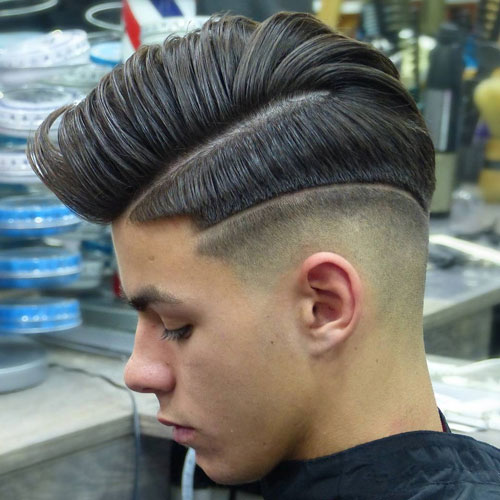 Mid Skin Fade + Hard Part Comb Over + Line in Hair