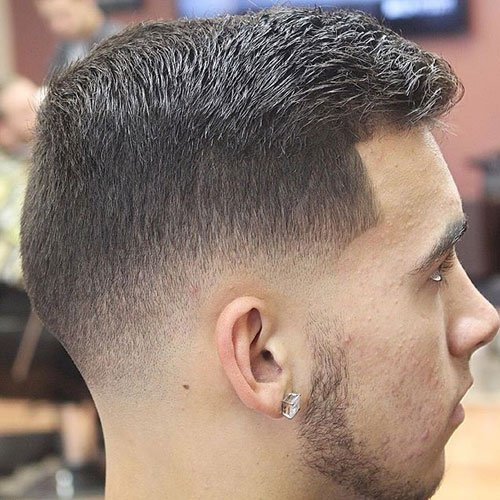 Side Swept Crew Cut + Low Fade