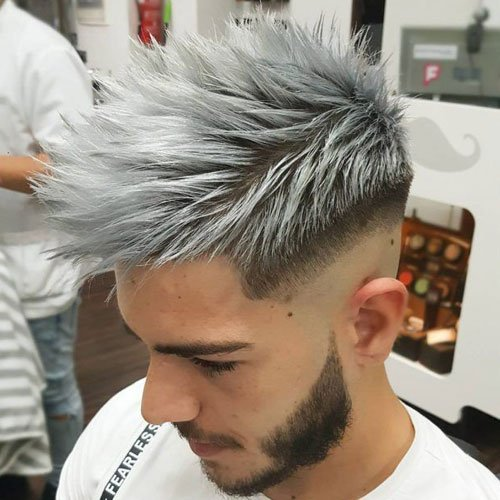 Textured Spiky Silver Highlights + Low Razor Fade