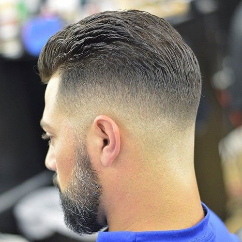 Thick Brushed Back Top + Bald Fade
