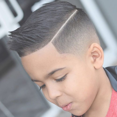 Low Taper Fade + Part + Comb Over with Spiky Fringe
