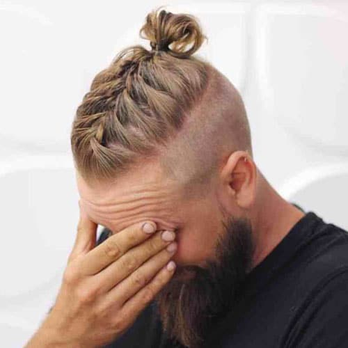Braided Top Knot with Full Beard