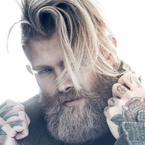 Messy Long Hair with Fade and Thick Beard
