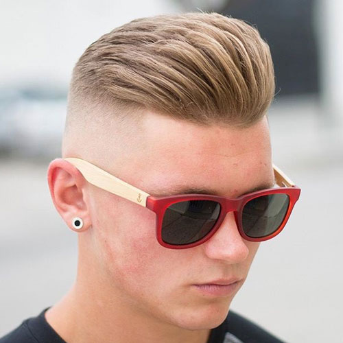 Brushed Up Hair on Top with High Bald Fade