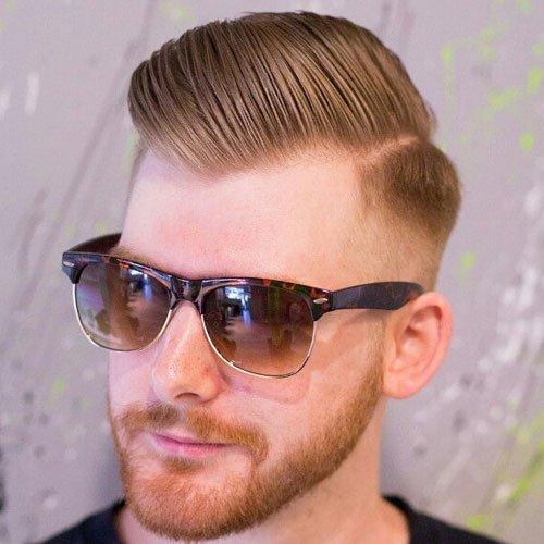 Comb Over Fade + Pomp + Hard Part