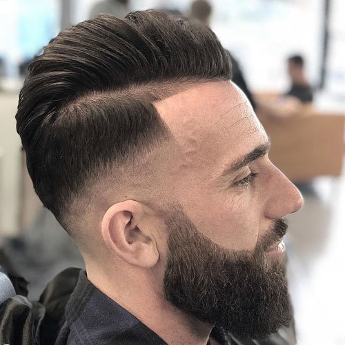 Comb Over Pompadour with Mid Razor Fade and Beard