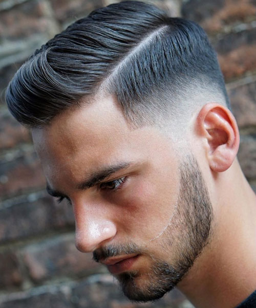 Low Fade Side Part + Thick Line + Brushed Up Fringe