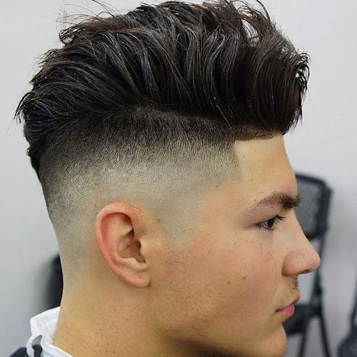 Messy Wavy Hair with High Skin Fade and Line Up