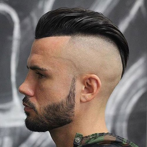 Shaved Widows Peak - Slick Back with Shaved Sides