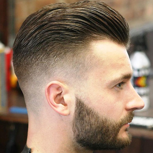 Thick Brushed Back Hair with High Fade and Beard