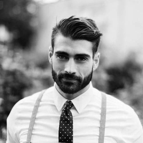Gangster Haircuts - Short Tapered Sides with Side Swept Hair and Full Beard