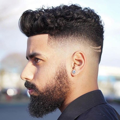 High Drop Fade + Curly Hair on Top
