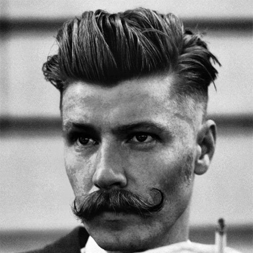 Classic Old Western Cowboy Hairstyle - Shaved Sides with Thick Slicked Back Hair and Mustache
