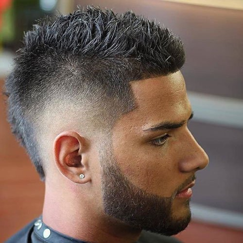Skin Fade Faux Hawk with Thick Beard