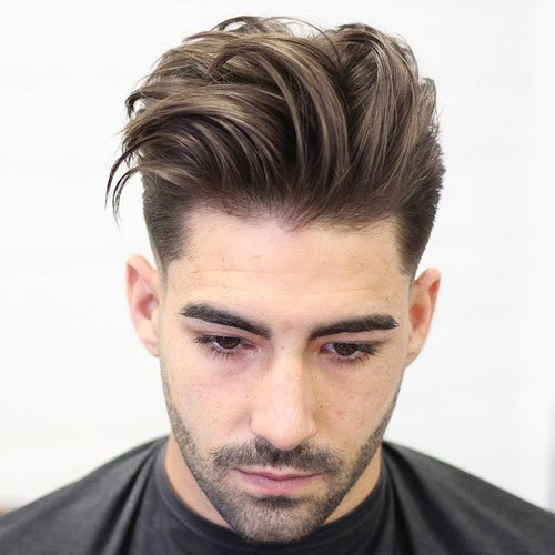 Long Textured Quiff Haircut + Low Fade