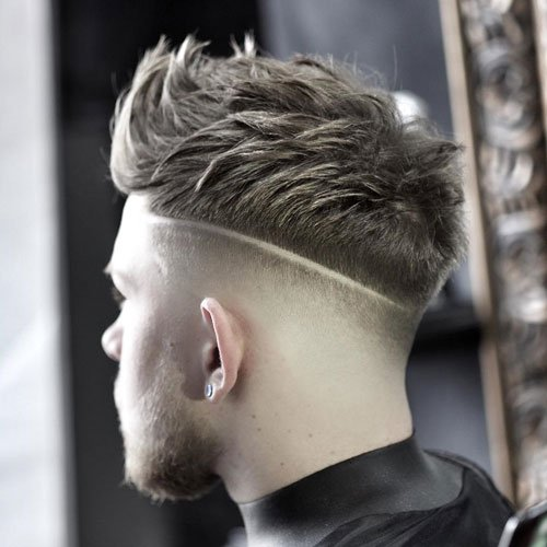 Medium Length Textured Hairstyles For Guys - High Fade with Part and Messy Textured Spiky Hair