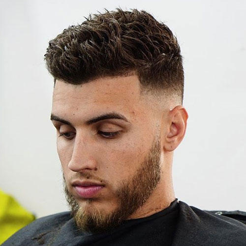 Men's Short Textured Haircut - Mid Bald Fade + Line Up + Short Spiky Hair + Beard