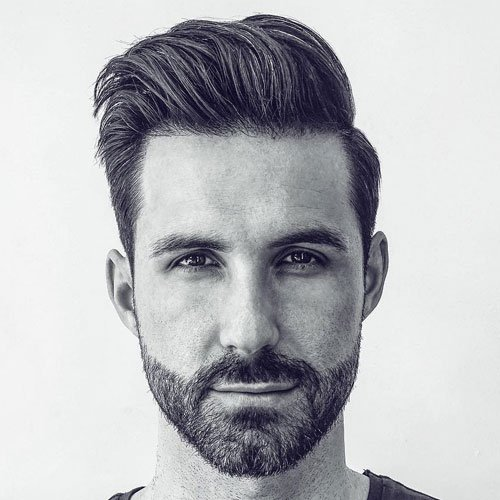 Men's Textured Fade Haircut - Classic Tapered Haircut + Modern Quiff + Short Beard
