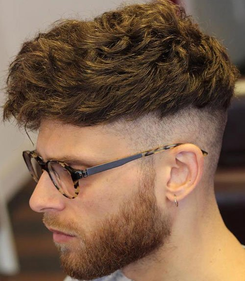 Men's Textured Fringe Hairstyles + High Bald Fade