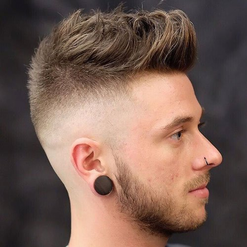 Modern Textured Quiff Haircut For Men - High Fade Haircut + Short to Medium Length Quiff Hairstyle on Top