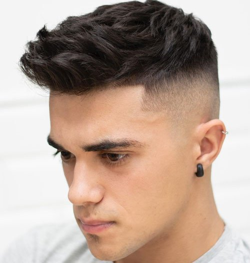 Short Textured Hair For Men - High Skin Fade + Spiky Textured Top