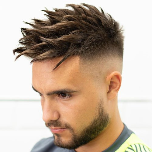 Textured Spiky Hair For Men - High Bald Fade + Thick Spiked Hairstyle on Top