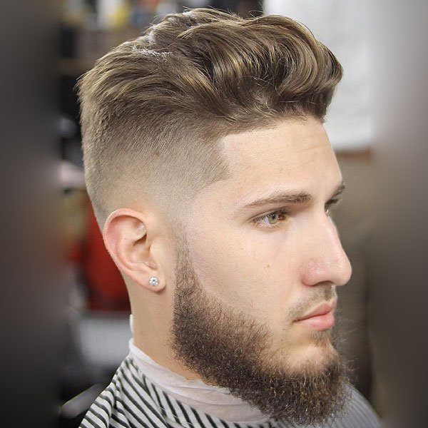 Medium Length Men's Haircut + High Skin Fade