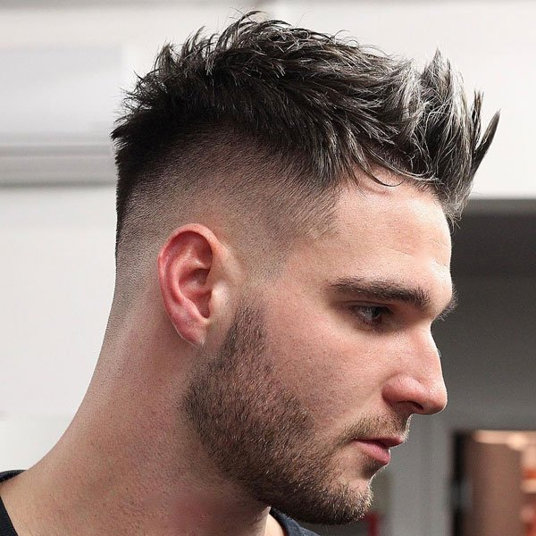 Short Messy Spiked Up Hair with Fade