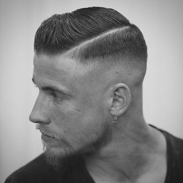 Side Part Hairstyle + High Bald Fade