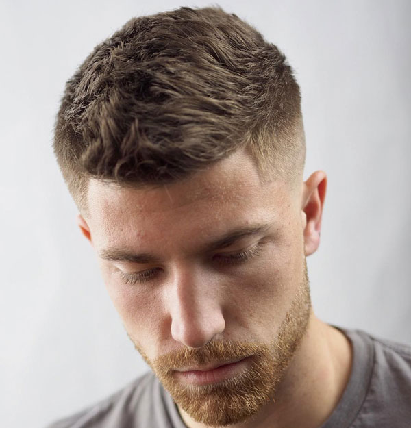 Textured Crew Cut Fade + Line Up